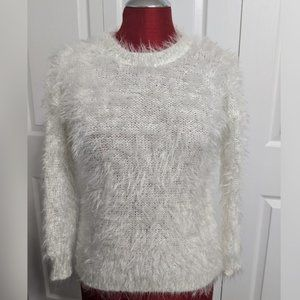Chelsea & Violet White Fuzzy & Sequin Sweater